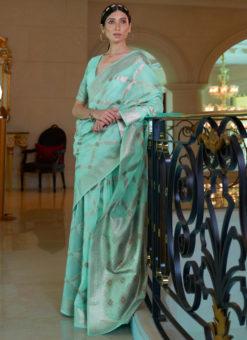 Sea Green Pure Modal Handloom Zari Weaving Designer Saree