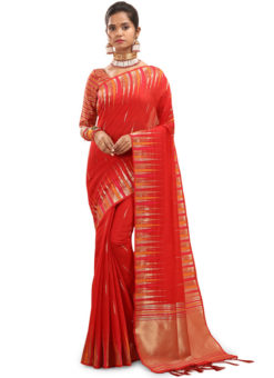 Red Traditional Wear Weaving Cotton Silk Saree