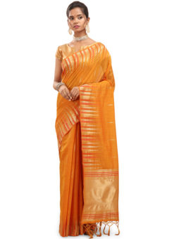Yellow Weaving Cotton Silk Traditional Wear Saree