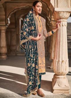 Brown Georgette Designer Embroidered Work Pakistani Suit