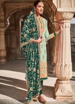 Light Green Georgette Designer Embroidered Work Pakistani Suit