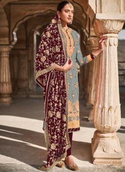 Grey Georgette Designer Embroidered Work Pakistani Suit