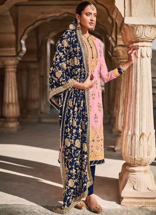 Pink Georgette Designer Embroidered Work Pakistani Suit