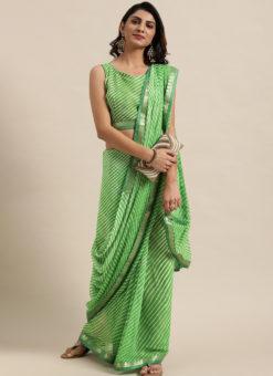 Green Georgette Lahariya Printed Party Wear Saree