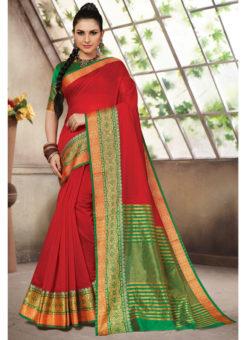 Red Cotton Handloom Wevon Designer Work Sangeet Sandhiya Saree
