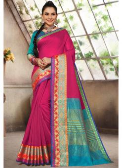 Pink Cotton Handloom Wevon Designer Work Sangeet Sandhiya Saree