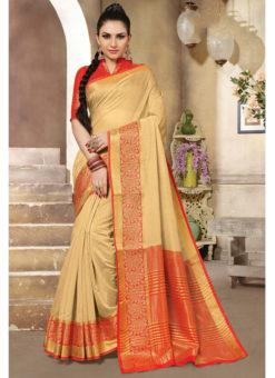 Beige Cotton Handloom Wevon Designer Work Sangeet Sandhiya Saree
