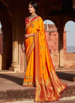 Orange Heavy Zari Weaving Thread Work Wedding Designer Saree