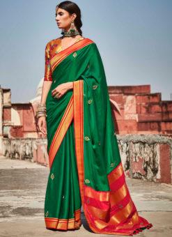 Green Heavy Zari Weaving Thread Work Wedding Designer Saree