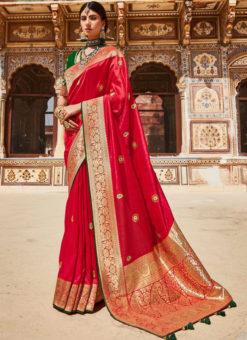 Pink Heavy Zari Weaving Thread Work Wedding Designer Saree