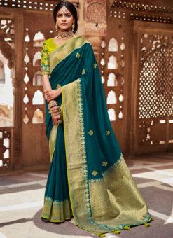Rama Green Heavy Zari Weaving Thread Work Wedding Designer Saree