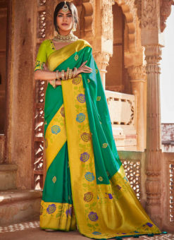 Sea Green Heavy Zari Weaving Thread Work Wedding Designer Saree