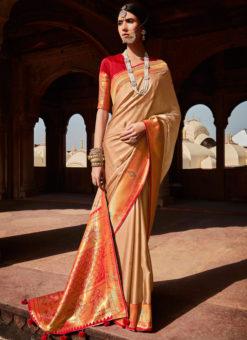 Beige Heavy Zari Weaving Thread Work Wedding Designer Saree