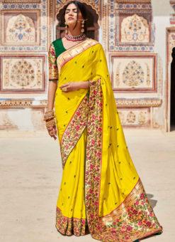 Yellow Heavy Zari Weaving Thread Work Wedding Designer Saree