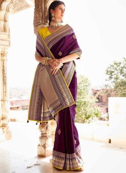 Purple Heavy Zari Weaving Thread Work Wedding Designer Saree
