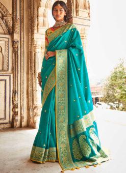 Sky Blue Heavy Zari Weaving Thread Work Wedding Designer Saree