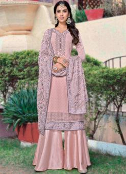 Pink Georgette Diamond Work Party Wear Designer Salwar Kameez