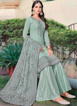 Blue Georgette Diamond Work Party Wear Designer Salwar Kameez
