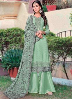 Green Georgette Diamond Work Party Wear Designer Salwar Kameez