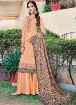Peach Georgette Diamond Work Party Wear Designer Salwar Kameez
