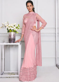 Pink Lycra Sequins Embroidery And Pearl Hand Work Designer Saree