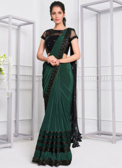 Green Lycra Sequins Embroidery Designer Party Wear Saree