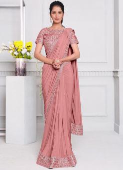Pink Lycra Resham Embroidery Work Designer Saree