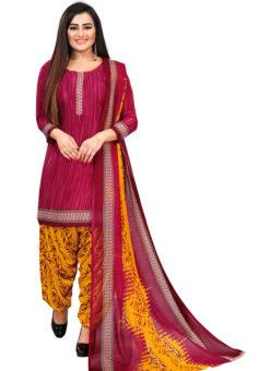 Dusty Pink Crepe Patiyala Style Dress Material