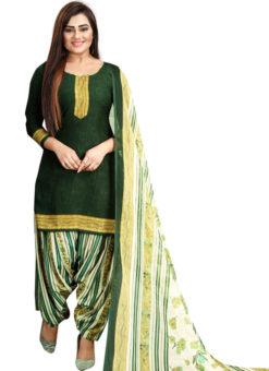 Green Crepe Patiyala Style Dress Material