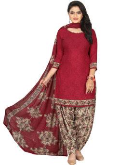 Red Crepe Patiyala Style Dress Material