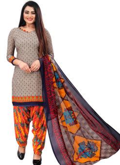 Grey Crepe Patiyala Style Dress Material