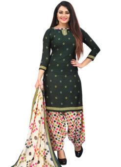 Black Crepe Patiyala Style Dress Material