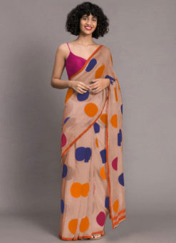 Beige Designer Chanderi Printed Saree