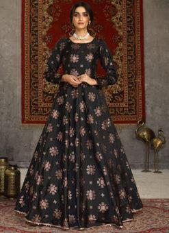 Designer Black Taffeta Silk Foil Print Party Wear Gown