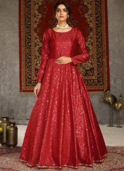 Red Party Wear Designer Taffeta Silk Foil Print Gown