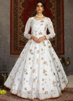 White Designer Taffeta Silk Foil Print Party Wear Gown