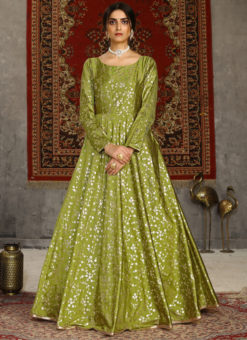 Green Taffeta Silk Party Wear Foil Print Designer Gown