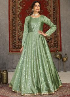 Pista Green Party Wear Foil Print Designer Taffeta Silk Gown
