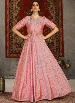 Party Wear Taffeta Silk Foil Print Designer Pink Gown