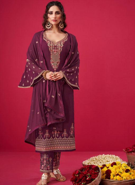 Wine Georgette Embroidered Work Party Wear Salwar Suit