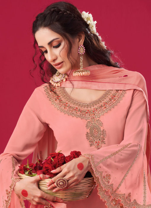 Peach Georgette Embroidered Work Party Wear Salwar Suit