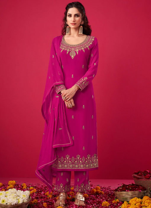 Pink Georgette Embroidered Work Party Wear Salwar Suit