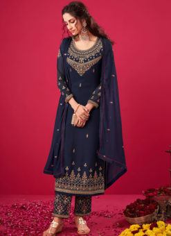 Navy Blue Georgette Embroidered Work Party Wear Salwar Suit