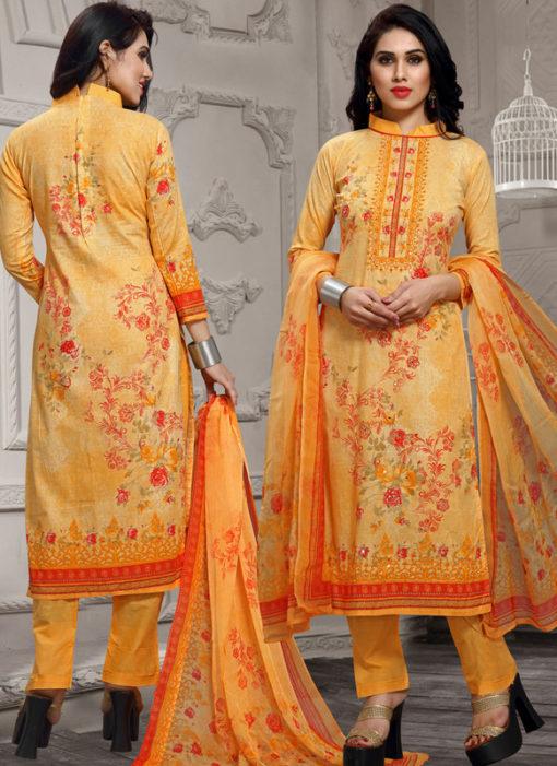 Orange Lawn Cotton Hand Khatli Thread Work Party Wear Salwar Kameez