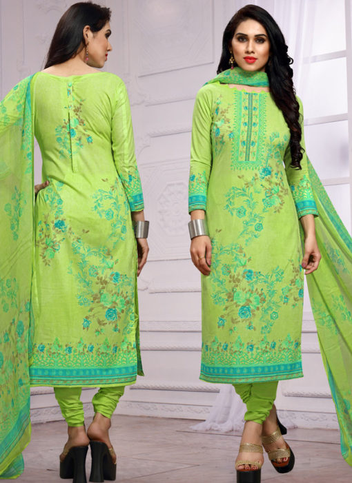 Green Lawn Cotton Hand Khatli Thread Work Party Wear Salwar Kameez