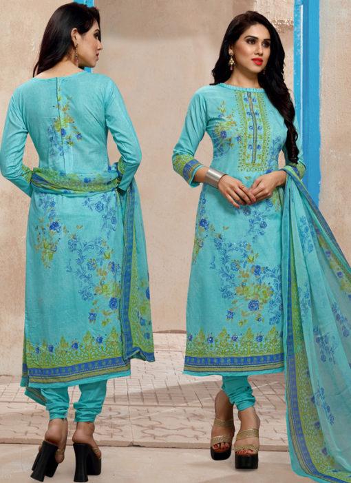 Sky Blue Lawn Cotton Hand Khatli Thread Work Party Wear Salwar Kameez