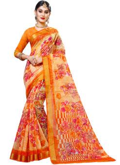 Orange Panetar Chex Cotton Grand Pallu and Border Party Wear Saree