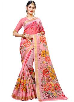 Pink Panetar Chex Cotton Grand Pallu and Border Party Wear Saree