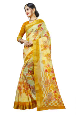 Yellow Panetar Chex Cotton Grand Pallu and Border Party Wear Saree