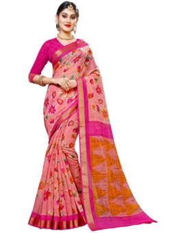 Peach Panetar Chex Cotton Grand Pallu and Border Party Wear Saree